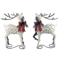 Set of Christmas Reindeer figurines. The set includes reindeer with ribbons on opposite sides of their bodies, allowing them to look great standing together, or around a doorway. Christmas Tree Set, Christmas Moose, Nutcracker Christmas, Christmas Figurines, Very Merry Christmas, Christmas Themes, Christmas Decorations, Reindeer Figurines