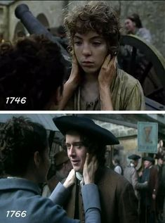 Claire and Fergus then and now. Fergus Outlander, Outlander Season 4, Outlander Quotes, Outlander Book Series, Outlander Casting, Outlander Tv Series, Sam Heughan Outlander, Starz Series, Outlander Characters