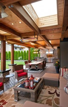 Traditional Patio Hot Tub Design, Pictures, Remodel, Decor and Ideas - page 49 Love the outdoor living area Outdoor Pavillion, Backyard Pavilion, Small Backyard Patio, Outdoor Spaces, Outdoor Living, Outdoor Decor, New Patio Ideas, Cozy Living Spaces, Living Area