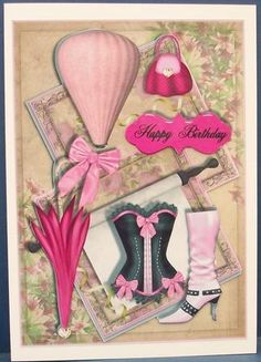 Female Birthday card or special occasion on Craftsuprint designed by Sallyanne O'Connell - made by Cheryl French - Printed onto glossy photo paper. Attached base image to card stock using ds tape. Built up image with 1mm foam pads. - Now available for download!