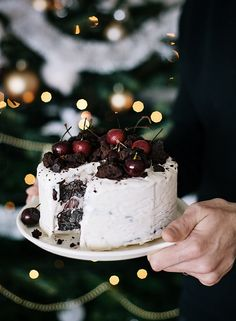 Fudge Ice Cream cake w/ Cherries.