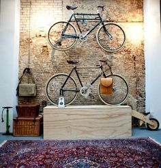 Colored carpet bicycle stand wall brick wall