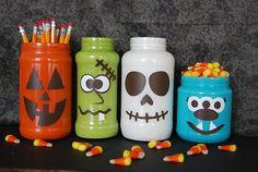 Cute Halloween Jars - CreativeMeInspiredYou.com cute, fun. halloween, diy, handmade, homemade, recycle, Halloween, fall, autumn, party, spooky, home decor, decor, halloween decor, monsters, jars, paint, vinyl, moms, mom, kids, mom crafts, kids crafts, easy crafts, halloween crafts