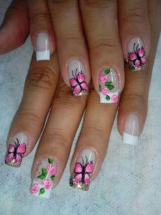 Rosas hermosas Cute Nail Art, Beautiful Nail Art, Cute Nails, Pretty Nails, Nail Swag, Pedicure Designs, Nail Art Designs, Spring Nails, Summer Nails