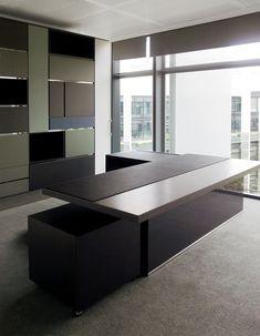 desk sub 75 by www. Ceo Office, Modern Office Desk, Luxury Office, Office Table, Office Workspace, Office Cabinet Design, Bureau Design, Office Interior Design, Office Interiors