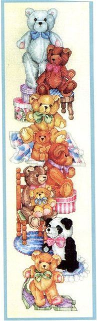 Pinner said: 1......I have this chart and did it for my granddaughter when she was just a baby.....it is so pretty when done....colors are beautiful and it worked up so nice.....I would recommend it to anyone who loves teddies...my granddaughter has a huge collection of teddies now and they all have names...smile