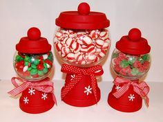 Similarly, I also love these for Christmas. Homemade candy jars. Would make great Christmas Gifts too!