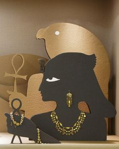 Cabinet Display Egyptian Character adorned with Azza Fahmy Pieces