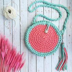 Aqua & coral bag