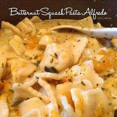 Butternut Squash Pasta Alfredo  Serves 8-10 2 bags frozen stuffed ravioli 1 bag frozen stuffed tortellini You can use any pasta you like or if you prefer low carb, spaghetti squash. Cook as per package...turn off heat and let it sit in the water until the sauce is ready.  Alfredo Sauce:  2 cups diced butternut squash 1 bunch green onions, finely chopped 5 tsp butter 3 Tbs dried parsley flakes 2 tsp black pepper 1 tsp sea salt 2 tsp dried basil 3 minced garlic cloves 2 Tbs extra virgin olive…