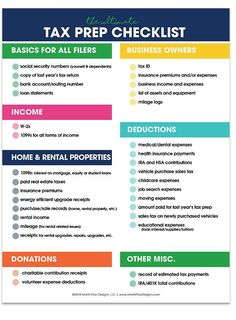 Tax season doesnt have to be a yearly struggle! Knowing what you need to prepare can make tax season a breeze when using the free printable Income Tax Prep Checklist. Small Business Bookkeeping, Small Business Tax, Business Ideas, Business Quotes, Business Planning, Business Inspiration, Business Tax Deductions, Small Business Organization, Office Organization