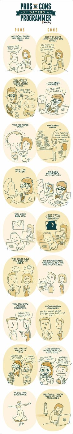 Pros and Cons of Dating a Programmer. True story, I have a programmer husband, I know.