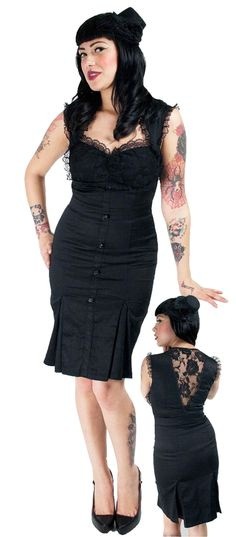 Black Rockabilly Flair Dress