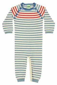 FUB Heldress til baby i strikket bomull blå/hvit stripet