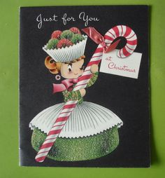 Vtg. Norcross Christmas Card- Cute Candy Gum Drop Girl W/Candy Cane-Glitter