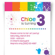 Bold Purple Rainbow Stripes and Splatters Invitation by Wildharted, $15.00