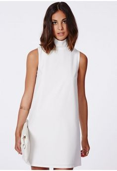Missguided - Callie Roll Neck Shift Dress White
