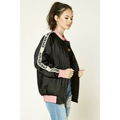 Forever21 ACPH Now Graphic Bomber ($26) ❤ liked on Polyvore featuring outerwear, jackets, collar jacket, padded bomber jacket, striped jacket, forever 21 jackets and bomber style jacket