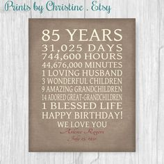 85th BIRTHDAY GIFT Sign Print Personalized Art Mom Dad Grandma 85 Years Birthday Grandpa Or Digital Download Keepsake Canvas