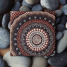 "Dot Art Painting, Aboriginal Earth Design, by Biripi Artist Raechel Saunders, 4"" x 4"" canvas board, Acrylic Paint, brown decor"