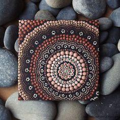 "Dot Art Painting, Aboriginal Earth Design, by Biripi Artist Raechel Saunders, 4"" x 4"" canvas board, Acrylic Paint, brown decor"