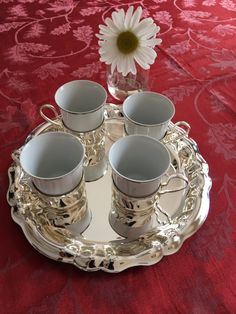 Vintage Demitasse Set Four Cups + Holders + Serving Tray, Silver Plated, Espresso Mokkaservice 2014, Made in West Germany by littlejoesattic on Etsy