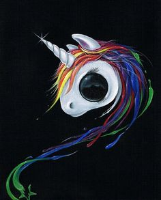 Sugar Fueled Unicorn Rainbow Pony Splash Series Paint Color Pop Surrealism Lowbrow creepy cute big e Eye Art, Canvas Art Prints, Creepy Cute, Big Eyes Art, Lowbrow Art, Cute Art, Canvas Art, Unicorn Art, Cute Drawings