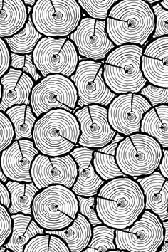 Tree Trunks In Black And White By Sarah S Hand Ilrated Rings On Fabric Wallpaper Gift Wrap