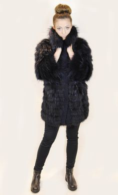 JESSIMARA NAVY RACCOON FUR & WOOL COAT