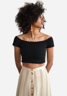 Scalloped Crochet Top Off Shoulder Top Crochet Bandeau Top Crochet Bandeau Tops, Crochet Crop Top, Hand Crochet, Black Crochet Top, Cotton Crochet, Crochet Summer Tops, Crochet Tops, Crochet Top Outfit, Crochet Clothes