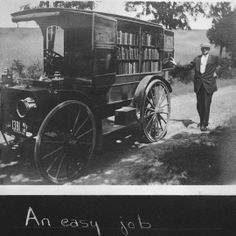 """Mary Titcomb's """"Book Wagon"""". Courtesy of the Washington County Maryland Free Library. The book wagon system was a success, but in 1910 a freight train destroyed the wagon, putting personal book delivery service on hiatus. In 1912 the library board purchased an International Harvester truck instead of a wagon."""