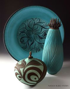 Gorgeous ocean colors with handmade ceramic vessels and platter!