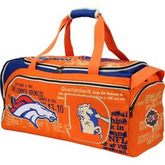 Observe your Denver Broncos fandom as you travel with this one of a kind historical team duffel bag!