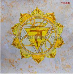 Chakra Manipura - Chakra Plexo Solar /Serie Petalos - Tecnica mixta y oleo. 45 x 45 cm. 19O€