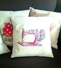 Pink Vintage Sewing Machine Cushion Cover. Artist Cushion. Crafters Cushion Cover. by SueRocheIllustration on Etsy https://www.etsy.com/listing/256295715/pink-vintage-sewing-machine-cushion