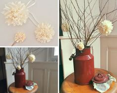 Found my granny's old milk canister and used it as vase for the branches with pom-poms. #vase #ideas #diy
