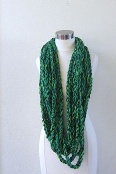 GREEN EMERALD SCARF Crochet Scarves Eternity by marianavail, $30.00