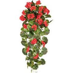 Geranie Balkonpflanze künstlich Geranienbusch rot