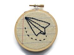 Paper Airplane  Three Inch Embroidery Hoop Wall by MontclairMade #etsy just listed!