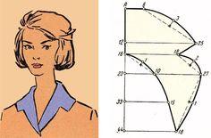 Ретро воротник отложной без стойки (6 выкроек – схем) - «Ретро стиль, мода и шитье»