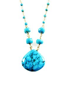 "Sign up for the TerriFayeJewelry newsletter and we will send you a coupon code good for free shipping on your order. Copy and paste the link below into your browser and once you sign up we'll email you the coupon code. http://www.handmadenewsletter.com/TerriFayeJewelry Beautiful Genuine Matrix Blue Turquoise necklace with 4 8mm round turquoise beads, added to a turquoise and gold pyrite beaded chain. Length of Necklace is 30"" Length of Pendant is with beads is 2 inches. Total Length is 32…"