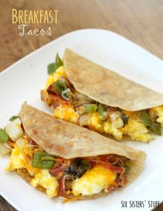 Breakfast Tacos from SixSistersStuff are the best way to start the day. we even have them for dinner sometimes. Breakfast Tacos, Breakfast Items, Breakfast Dishes, Best Breakfast, Breakfast Recipes, Mexican Breakfast, Breakfast Sandwiches, Breakfast Club, Cooking Recipes