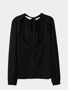 Znalezione obrazy dla zapytania black chiffon blouse bow at back