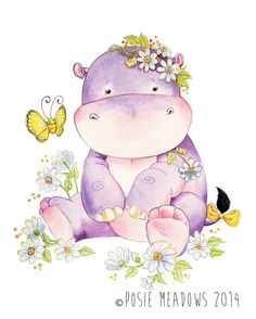 Watercolor Nursery Art. Girl Hippo Print. Kids Room Wall Decor. Watercolor…