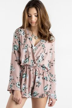 Pink Floral Romper, Floral Rompers for Women, Feminine Outfit Inspiration
