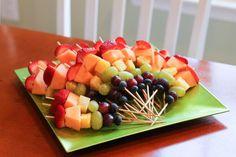 Fruit kabobs for a tropical wedding shower.