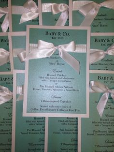 Baby and Co/Tiffany and Co Shower Menu by MySentimentsInvites, $2.00