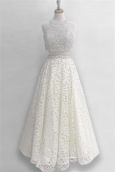 2 Pieces A-line Beading Ivory Long Lace Elegant Prom Dresses Evening Dresses  Z0707 Affordable 803f86c8387a