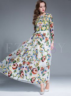 Shop for high quality Elegant Mesh Patch Waist Embroidery Maxi Dress online at cheap prices and discover fashion at Ezpopsy.com
