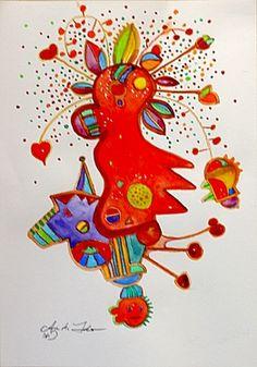 "Saatchi Online Artist Annette Lindner; Painting, ""Mon Amour"" #art"
